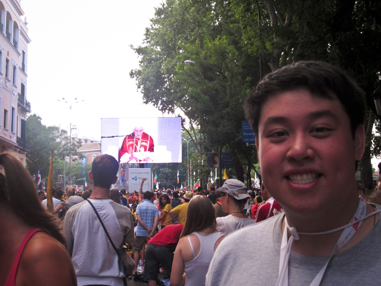 James (me!) in Madrid for World Youth Day 2011 with Pope Benedict XVI and more than one million other Catholic young adults.